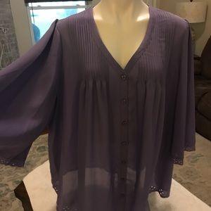 Denim 24/7 22w purple blouse